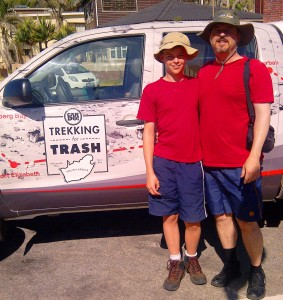 My dad and I in front of Trekking4Trash's truck.